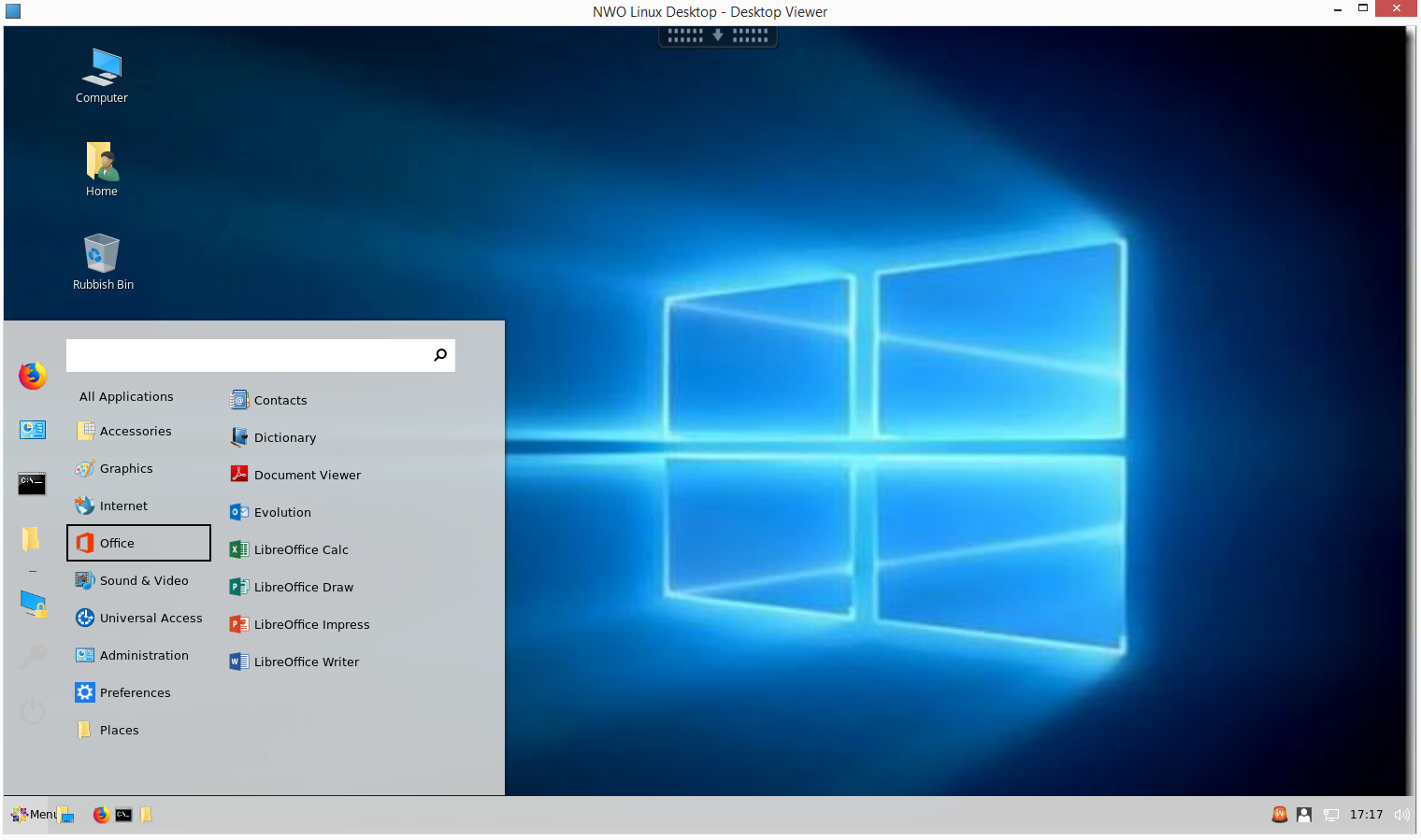 Citrix Session with cinnamon desktop and the Windows 10 theme